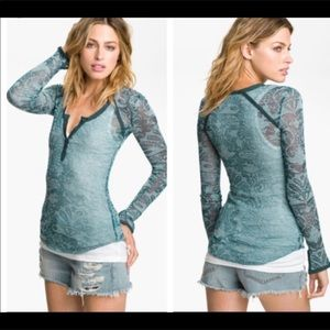 NWT Free People Intimately Damask Burnout Henley